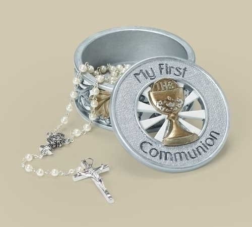 Rosary Box First Communion Silver & Gold Resin