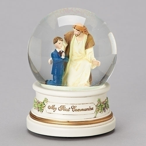 First Communion Glitter Dome Musical Boy Lord's Prayer