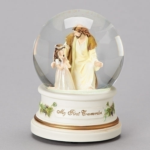First Communion Glitter Dome Musical Girl Lord's Prayer