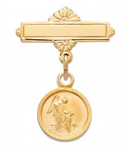 Guardian Angel Medal Pin Baptism Baby 1/2 inch Sterling Gold