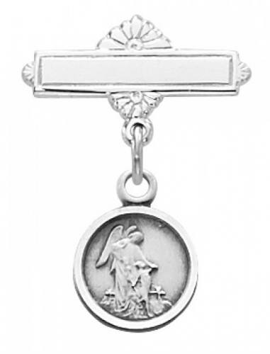 Guardian Angel Medal Pin Baptism Baby 1/2 inch Sterling Silver