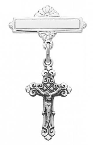 Crucifix Pin Baptism Baby Fancy 1/2 inch Sterling Silver