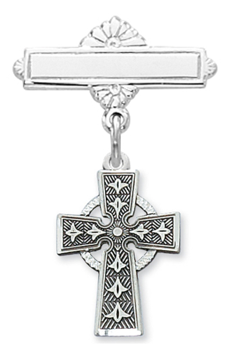 Cross Pin Baptism Baby Celtic 1/2 inch Sterling Silver