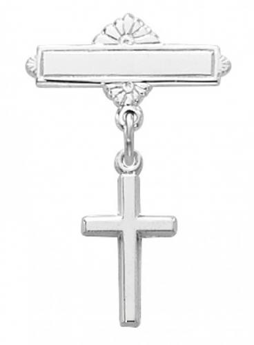 Cross Pin Baptism Baby Simple 1/2 inch Sterling Silver