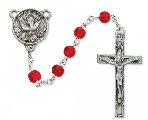 Rosary Confirmation Medal Pewter Silver Red Glass Beads