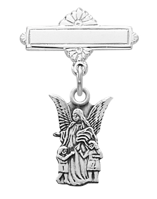 Guardian Angel Medal Pin Baptism Baby Cut 1/2 inch Sterling Silv
