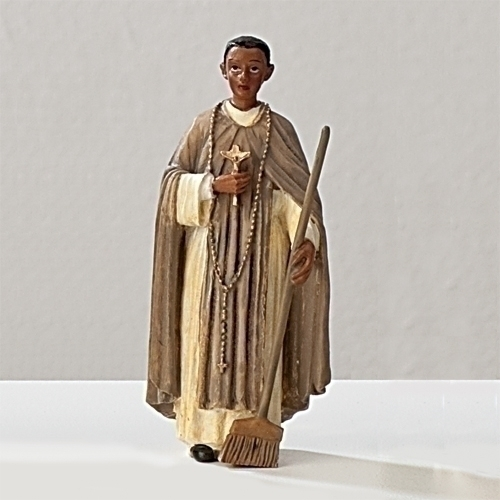 Statue St Martin de Porres 3.5 inch Resin Painted Boxed