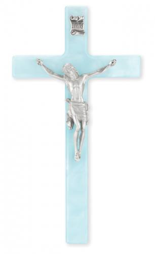 Crucifix Wall 7 inch Pearlized Blue Silver Corpus