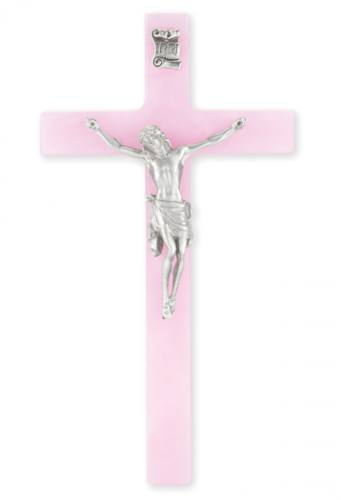 Crucifix Wall 7 inch Pearlized Pink Silver Corpus