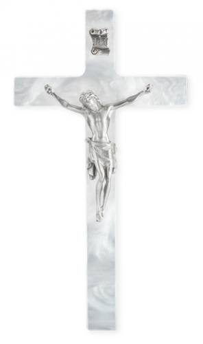 Crucifix Wall 7 inch Pearlized White Silver Corpus