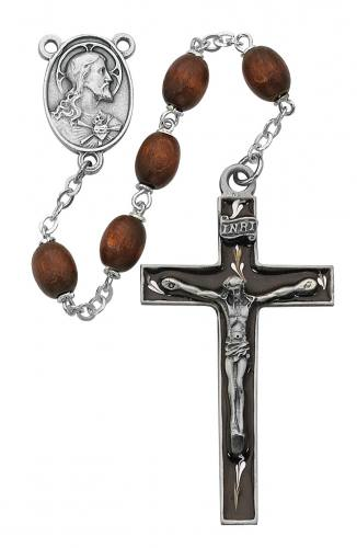 Rosary Sacred Heart Medal Pewter Silver Enameled Brown Wood Bead