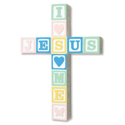 "Cross Wall ""Jesus Loves Me"" Pastel 8.5 inch Ceramic"