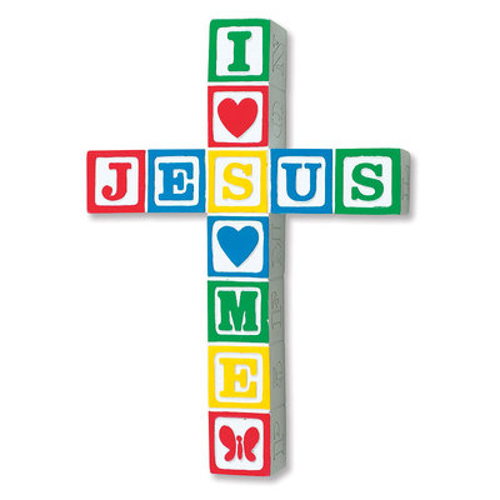"Cross Wall ""Jesus Loves Me"" Primary 8.5 inch Ceramic"