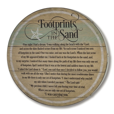 Barrel Plaque Footprints In The Sand 15 x 15 Inches