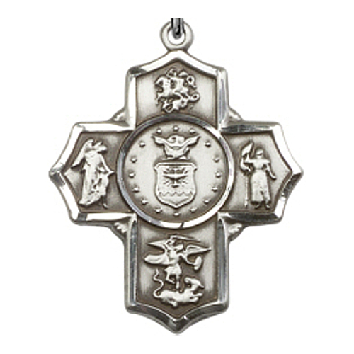 Four Way Medal Miltary US Air Force 1-5/8 inch St Silver Pendant