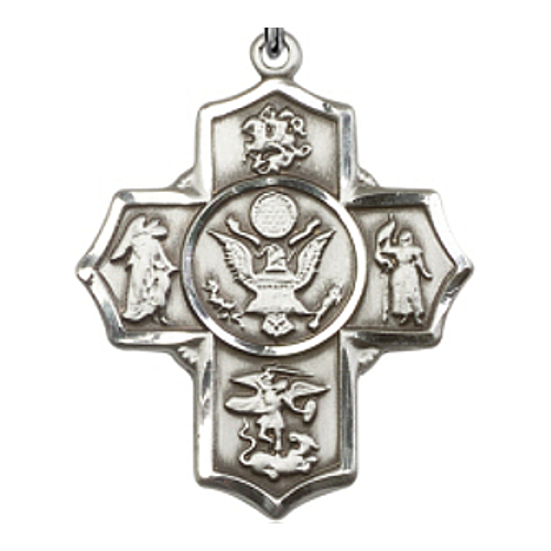 Four Way Medal Miltary US Army 1-5/8 inch Sterl Silver Pendant