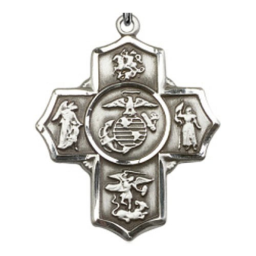 Four Way Medal Miltary US Marines 1-5/8 inch Ster Silver Pendant