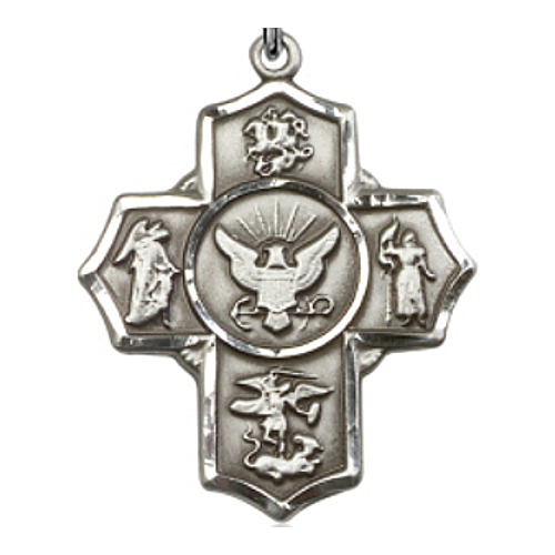 Four Way Medal Miltary US Navy 1-5/8 inch Sterl Silver Pendant