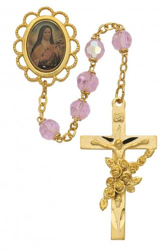 Rosary St Therese Lisieux Pewter Gold Pink Crystal Beads