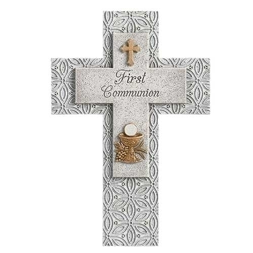 Cross Wall First Communion Stone Finish 8.75 inch Resin