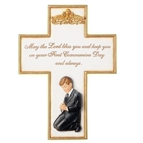 Cross Wall First Communion Praying Boy 8.5 inch Resin