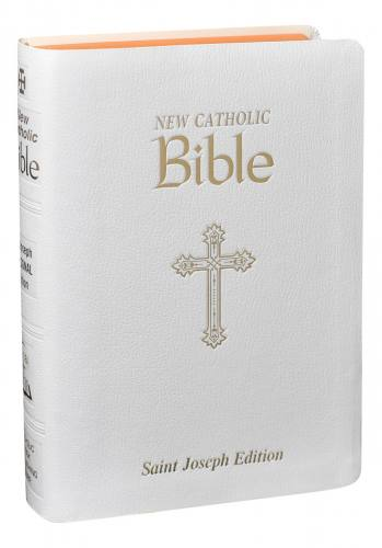New Catholic Bible St Joseph Regular Print Im Leather White