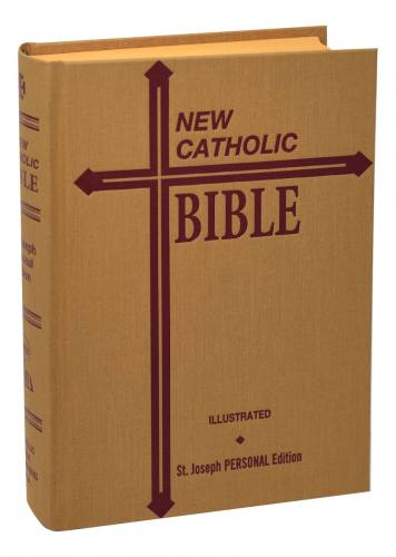 New Catholic Bible St Joseph Regular Print Hardcover Tan