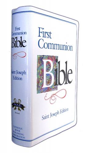 New American Bible St Joseph Medium Regular Print Communion Blue