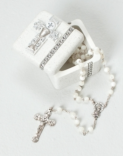 Rosary Box First Communion Silver Scrollwork Chalice Resin