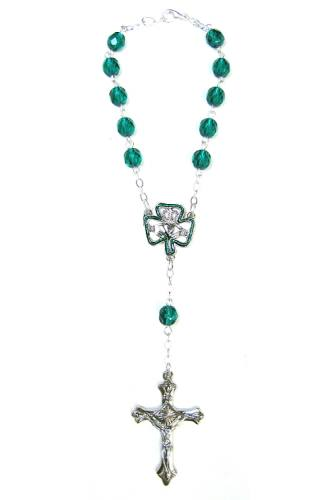 Auto Rosary Celtic Claddagh Oxidized Silver Green Crystal Beads