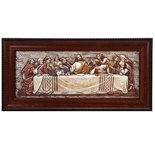 Last Supper Plaque Framed 7 x 14 Inch