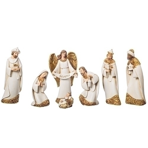 Nativity Ivory Gold Leaf 7 Inch Scale 7 Piece Set