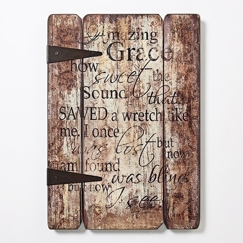 Wood Panel Amazing Grace 17 Inches