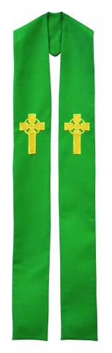 Stole Poly Linen Weave Celtic Cross