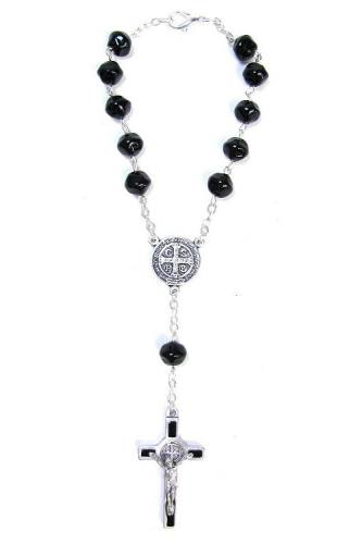 Auto Rosary St Benedict Medal Oxidized Silver Black Beads