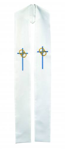 Stole Poly Linen Weave Marriage Cross Wedding Rings