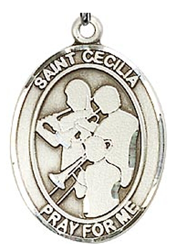 Sport Medal St Cecilia Music Band Men 1 inch Sterling Silver