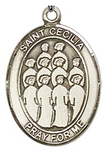 Sport Medal St Cecilia Music Choir Men 1 inch Sterling Silver