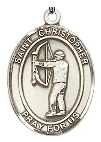 Sport Medal St Christopher Archery Men 1 inch Sterling Silver