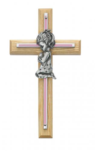 Cross Wall Baptism Girl 7 inch Silver Enameled Inlaid Oak