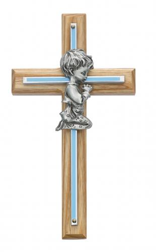 Cross Wall Baptism Boy 7 inch Silver Enameled Inlaid Oak