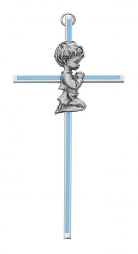 Cross Wall Baptism Boy 6 inch Silver Enameled Blue