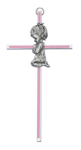 Cross Wall Baptism Girl 6 inch Silver Enameled Pink