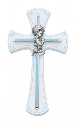 Cross Wall Baptism Boy 7 inch Silver Enameled Inlaid White