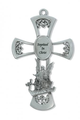 Cross Wall Baptism Guardian Angel 6 inch Pewter Silver