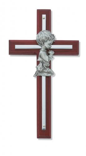 Cross Wall Baptism Boy 7 inch Silver Inlaid Cherry