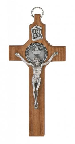 Crucifix Wall First Communion Medallion 6 inch Walnut