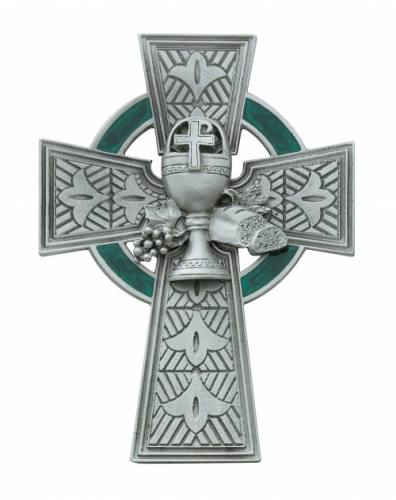 Cross Wall First Communion Irish Celtic 4.75 inch Pewter Silver