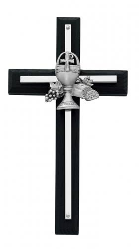 Cross Wall First Communion 7 inch Silver Inlaid Black