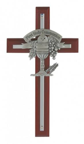 Cross Wall First Communion 7 inch Silver Inlaid Cherry